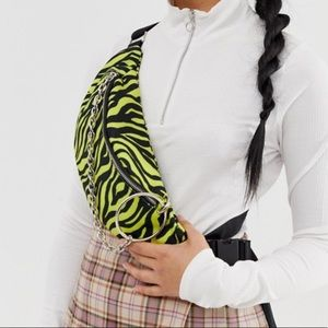 ASOS neon tiger ring chain fanny pack NWT